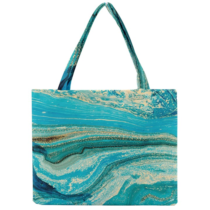 Mint,gold,marble,nature,stone,pattern,modern,chic,elegant,beautiful,trendy Mini Tote Bag