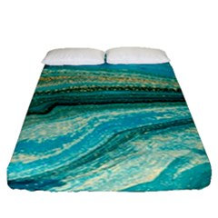Mint,gold,marble,nature,stone,pattern,modern,chic,elegant,beautiful,trendy Fitted Sheet (queen Size)