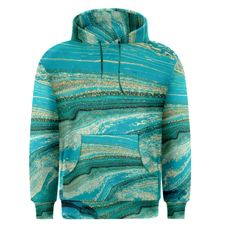 Mint,gold,marble,nature,stone,pattern,modern,chic,elegant,beautiful,trendy Men s Pullover Hoodie