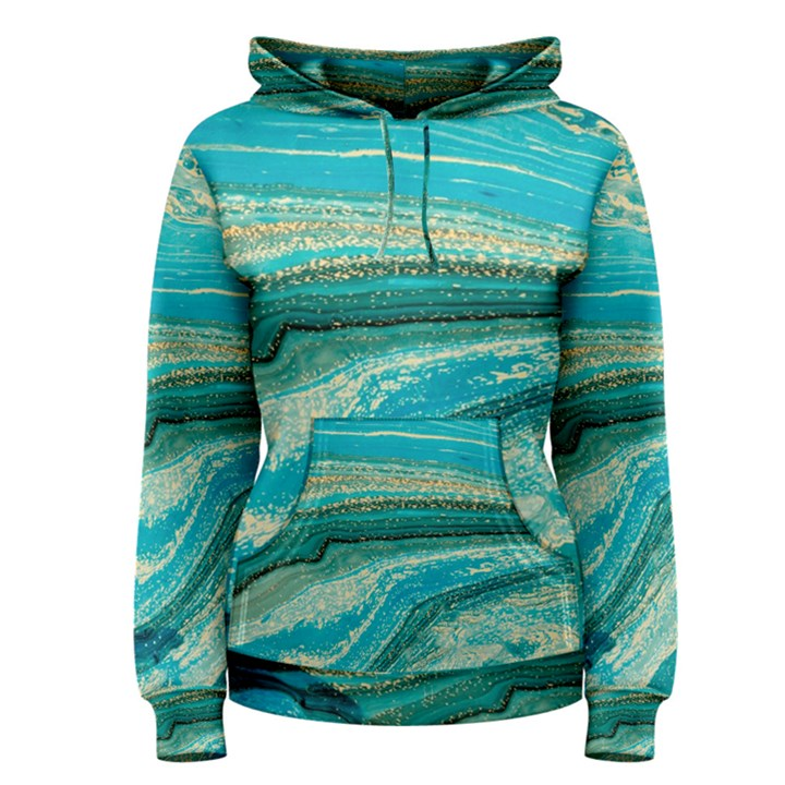 Mint,gold,marble,nature,stone,pattern,modern,chic,elegant,beautiful,trendy Women s Pullover Hoodie