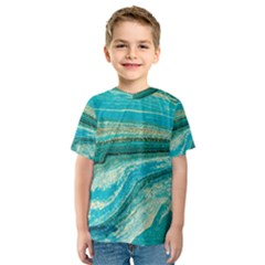 Mint,gold,marble,nature,stone,pattern,modern,chic,elegant,beautiful,trendy Kids  Sport Mesh Tee