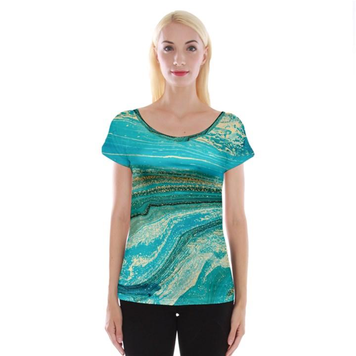 Mint,gold,marble,nature,stone,pattern,modern,chic,elegant,beautiful,trendy Cap Sleeve Tops