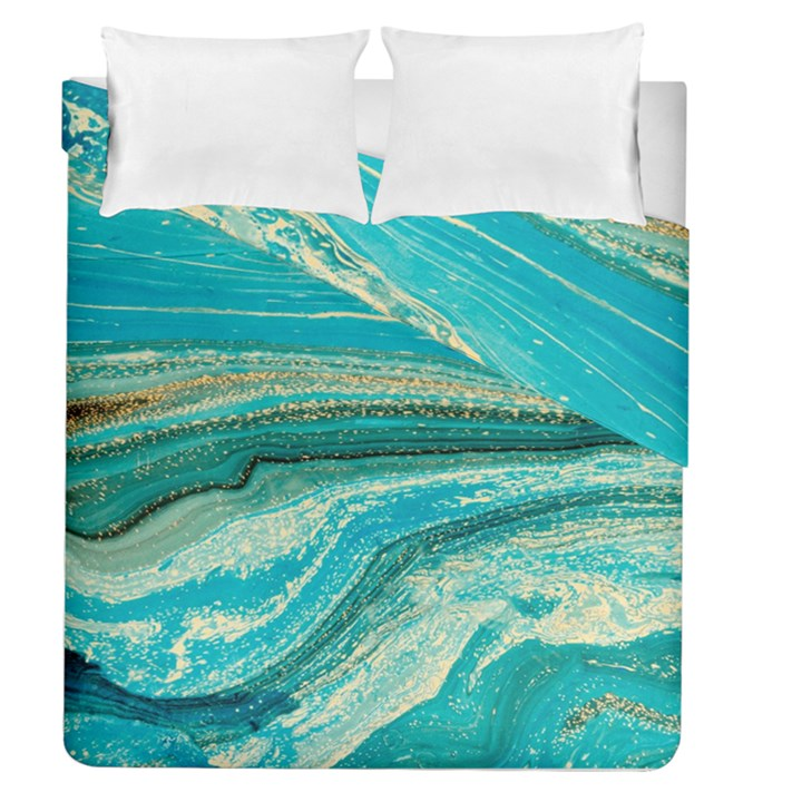 Mint,gold,marble,nature,stone,pattern,modern,chic,elegant,beautiful,trendy Duvet Cover Double Side (Queen Size)