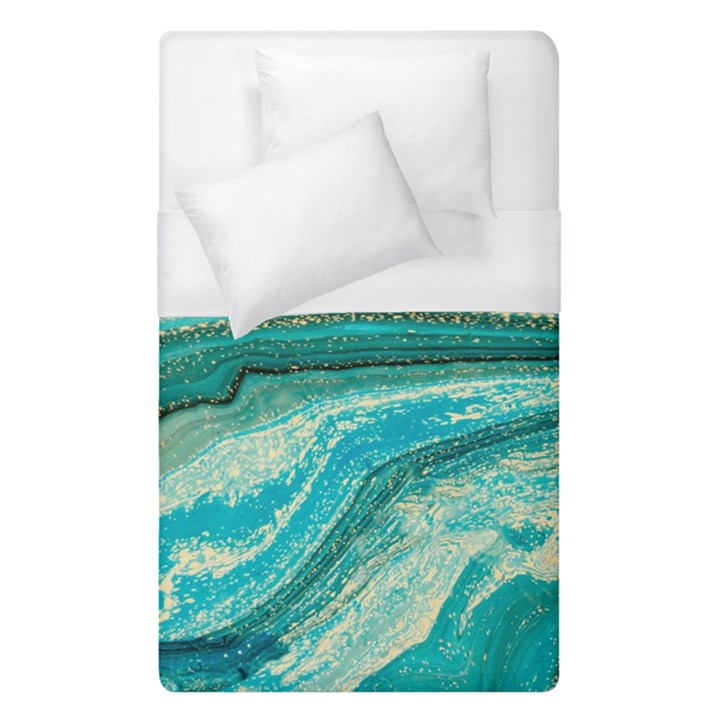 Mint,gold,marble,nature,stone,pattern,modern,chic,elegant,beautiful,trendy Duvet Cover (Single Size)