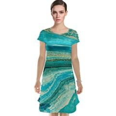 Mint,gold,marble,nature,stone,pattern,modern,chic,elegant,beautiful,trendy Cap Sleeve Nightdress