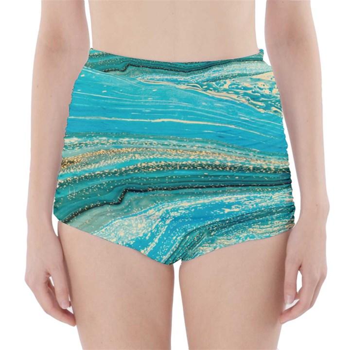 Mint,gold,marble,nature,stone,pattern,modern,chic,elegant,beautiful,trendy High-Waisted Bikini Bottoms