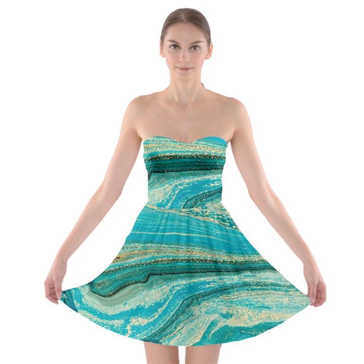 Mint,gold,marble,nature,stone,pattern,modern,chic,elegant,beautiful,trendy Strapless Bra Top Dress