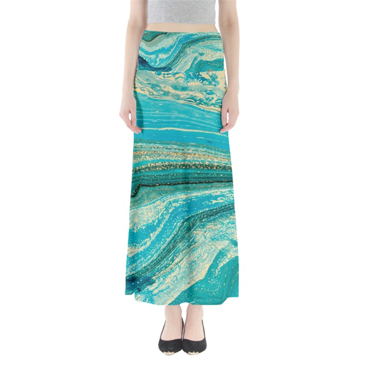 Mint,gold,marble,nature,stone,pattern,modern,chic,elegant,beautiful,trendy Full Length Maxi Skirt