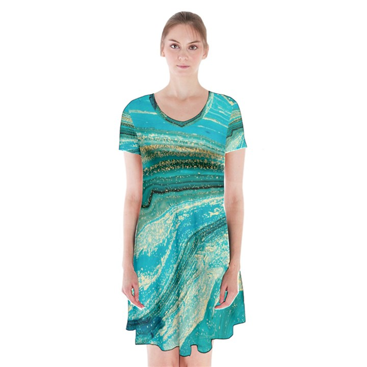 Mint,gold,marble,nature,stone,pattern,modern,chic,elegant,beautiful,trendy Short Sleeve V-neck Flare Dress