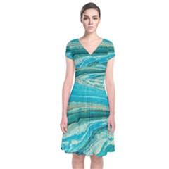 Mint,gold,marble,nature,stone,pattern,modern,chic,elegant,beautiful,trendy Short Sleeve Front Wrap Dress