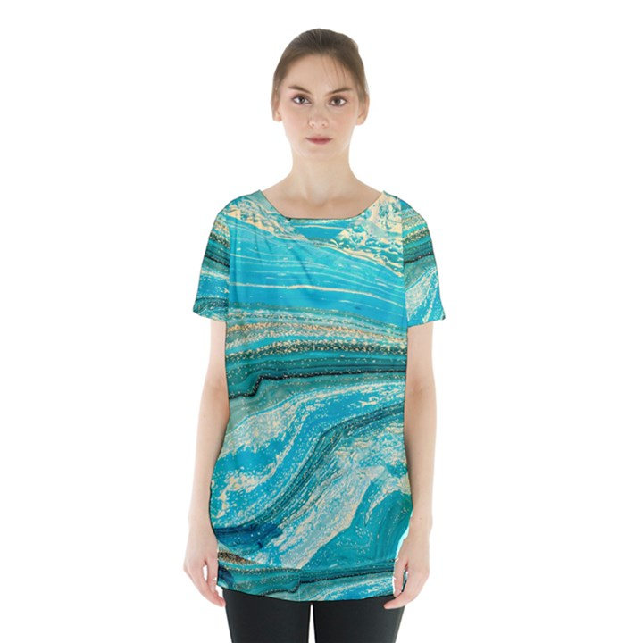 Mint,gold,marble,nature,stone,pattern,modern,chic,elegant,beautiful,trendy Skirt Hem Sports Top