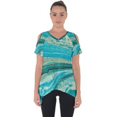 Mint,gold,marble,nature,stone,pattern,modern,chic,elegant,beautiful,trendy Cut Out Side Drop Tee by 8fugoso