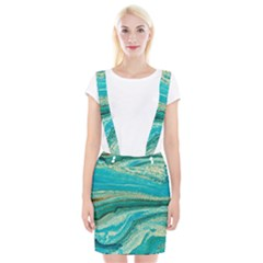 Mint,gold,marble,nature,stone,pattern,modern,chic,elegant,beautiful,trendy Braces Suspender Skirt
