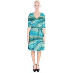 Mint,gold,marble,nature,stone,pattern,modern,chic,elegant,beautiful,trendy Wrap Up Cocktail Dress