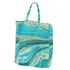Mint,gold,marble,nature,stone,pattern,modern,chic,elegant,beautiful,trendy Giant Grocery Zipper Tote