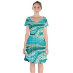 Mint,gold,marble,nature,stone,pattern,modern,chic,elegant,beautiful,trendy Short Sleeve Bardot Dress