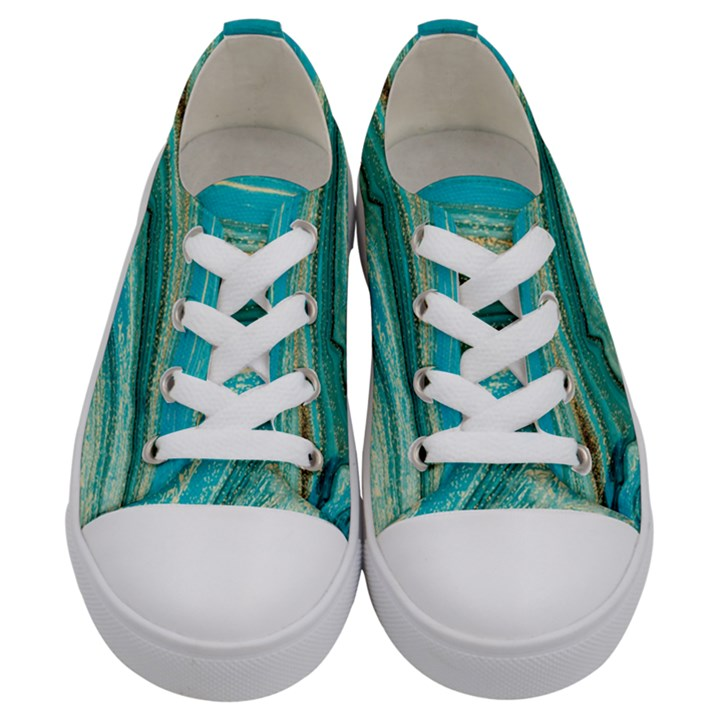 Mint,gold,marble,nature,stone,pattern,modern,chic,elegant,beautiful,trendy Kids  Low Top Canvas Sneakers