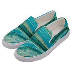 Mint,gold,marble,nature,stone,pattern,modern,chic,elegant,beautiful,trendy Men s Canvas Slip Ons by 8fugoso