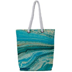 Mint,gold,marble,nature,stone,pattern,modern,chic,elegant,beautiful,trendy Full Print Rope Handle Tote (small)