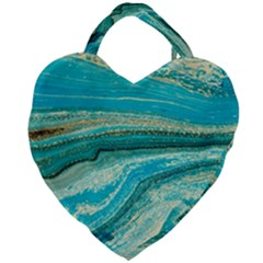 Mint,gold,marble,nature,stone,pattern,modern,chic,elegant,beautiful,trendy Giant Heart Shaped Tote
