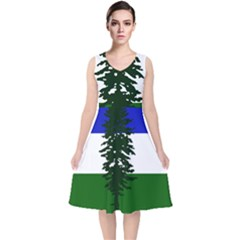 Flag Of Cascadia V Neck Midi Sleeveless Dress