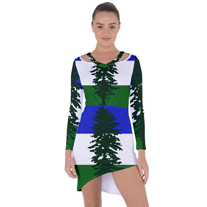 Flag of Cascadia Asymmetric Cut-Out Shift Dress