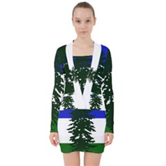 Flag Of Cascadia V Neck Bodycon Long Sleeve Dress by abbeyz71