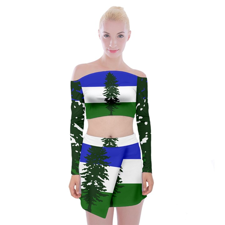 Flag of Cascadia Off Shoulder Top with Mini Skirt Set