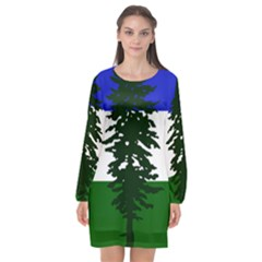 Flag Of Cascadia Long Sleeve Chiffon Shift Dress  by abbeyz71