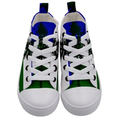 Flag Of Cascadia Kid s Mid Top Canvas Sneakers