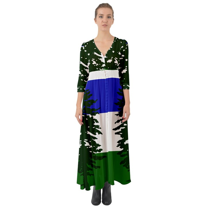 Flag of Cascadia Button Up Boho Maxi Dress
