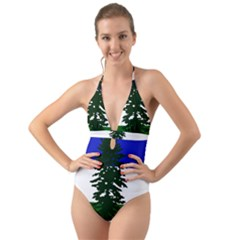 Flag Of Cascadia Halter Cut Out One Piece Swimsuit by abbeyz71