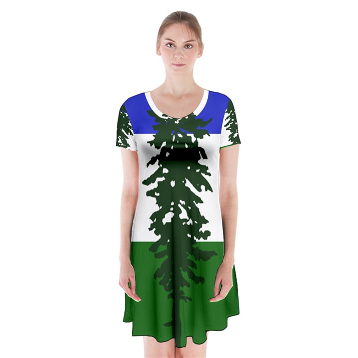 Flag of Cascadia Short Sleeve V-neck Flare Dress