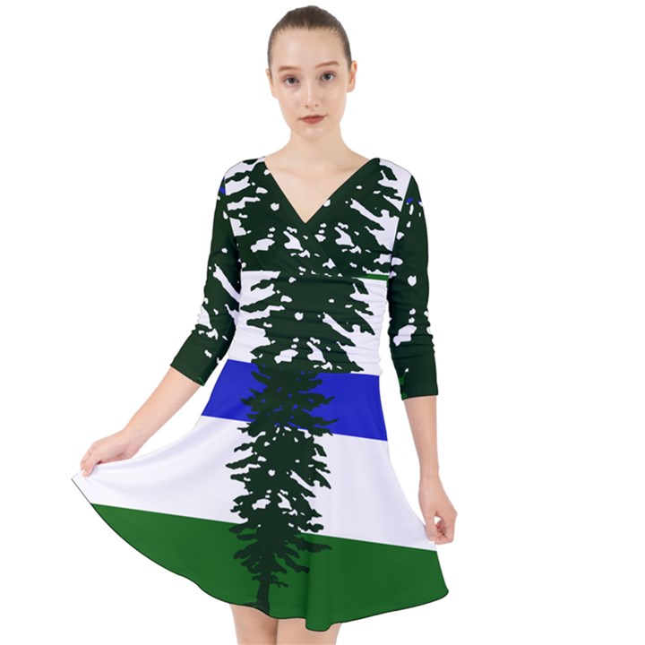 Flag of Cascadia Quarter Sleeve Front Wrap Dress