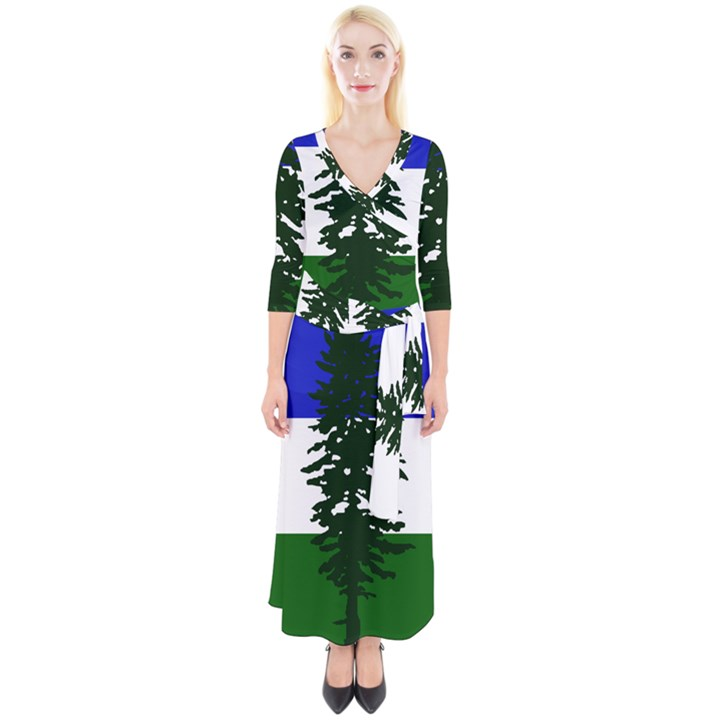 Flag of Cascadia Quarter Sleeve Wrap Maxi Dress