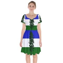 Flag Of Cascadia Short Sleeve Bardot Dress
