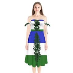 Flag Of Cascadia Shoulder Tie Bardot Midi Dress