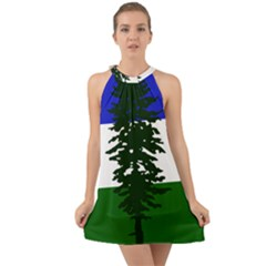 Flag Of Cascadia Halter Tie Back Chiffon Dress by abbeyz71