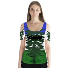 Flag Of Cascadia Butterfly Sleeve Cutout Tee  by abbeyz71