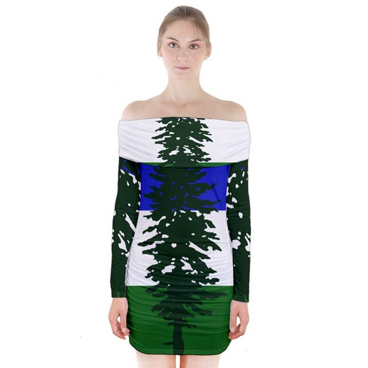 Flag of Cascadia Long Sleeve Off Shoulder Dress