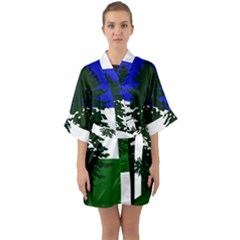 Flag Of Cascadia Quarter Sleeve Kimono Robe by abbeyz71
