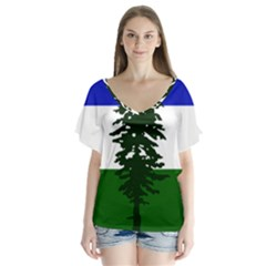 Flag Of Cascadia V Neck Flutter Sleeve Top by abbeyz71