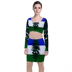 Flag Of Cascadia Long Sleeve Crop Top & Bodycon Skirt Set by abbeyz71