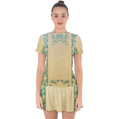 Art Nouveau Green Drop Hem Mini Chiffon Dress