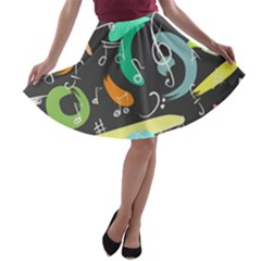 Repetition Seamless Child Sketch A Line Skater Skirt