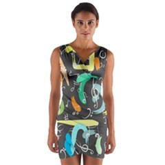 Repetition Seamless Child Sketch Wrap Front Bodycon Dress