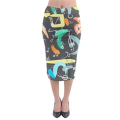 Repetition Seamless Child Sketch Midi Pencil Skirt