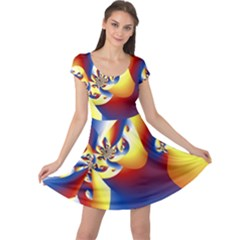 Mandelbrot Math Fractal Pattern Cap Sleeve Dress