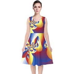 Mandelbrot Math Fractal Pattern V Neck Midi Sleeveless Dress
