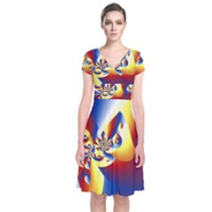 Mandelbrot Math Fractal Pattern Short Sleeve Front Wrap Dress